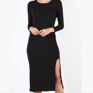 Dresses & Skirts - Black Front Slit Long Sleeve Midi Dress